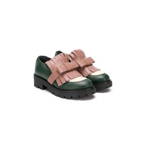 Marni Kids fringed bow appliqué loafers - グリーン