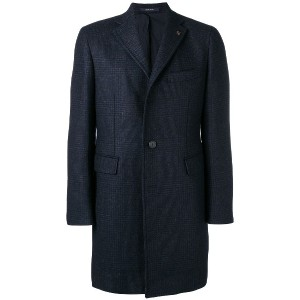 Tagliatore houndstooth pattern knitted coat - ブルー