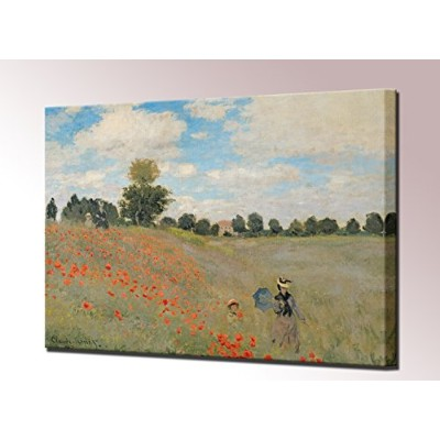 Wild Poppies Near Argenteuilキャンバスプリントby Monet Les Coquelicots environs d 'argenteuil Framed壁アート画像をハン...
