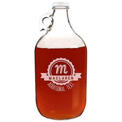 Personalized Etched 64ozクリアガラスビールGrowler