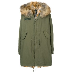As65 fur hooded parka coat - グリーン