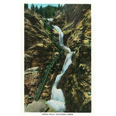 Colorado Springs、コロラド–View of Seven Falls in Cheyenne Canyon (12x 18署名印刷マスターアート印刷W/certificate...