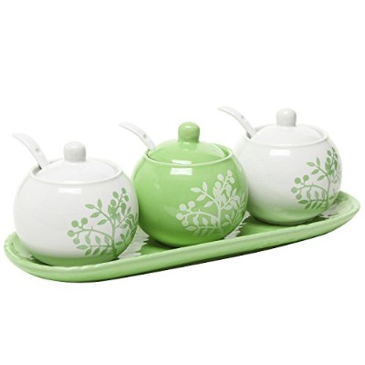 Set of 3 Lime Green & White Ceramic Floral Tree Motif Spice Jars / Condiment Pots w/ Serving Spoons...