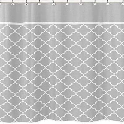 Grey and White Trellis Childrens Bathroom Fabric Bath Shower Curtain by Sweet Jojo Designs