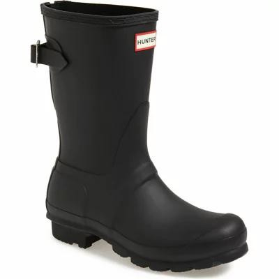 ハンター HUNTER レインシューズ・長靴 Original Short Back Adjustable Rain Boot Black