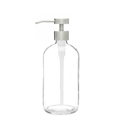 Market Clear Glass Soap Dispenser with Stainless Metal Fuente Pump