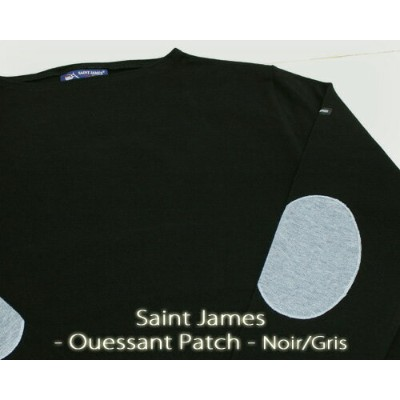 Saint James Ouessant Patch LS boatneck solid Noir Gris セント ジェームス ウエッソン エルボーパッチ / 長袖 無地 ボートネック 厚手...