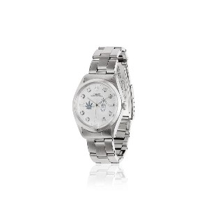Jacquie Aiche White Vintage Rolex Leaf and Eye Diamond Dial Watch -