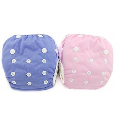 LilBit 2 pcs Pack Girls' Infant All In One Size Snap Swim Diaper by LilBit