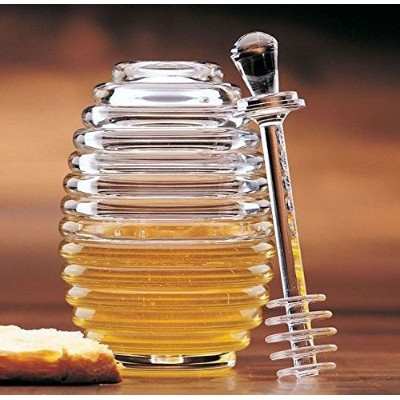 Prodyne Clear Acrylic Bee Hive Honey Jar Pot with Lid Server Dipper Dripper New by Honey Jars ...