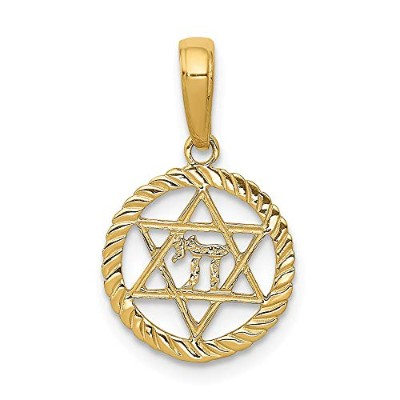 14 K Star of David and Chi in円ペンダント
