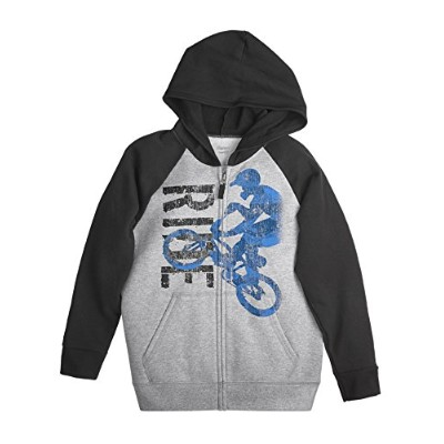 Hanes 617914401894 Boys Graphic Full Zip Hoodie with FreshIQ, Silver - 2XL