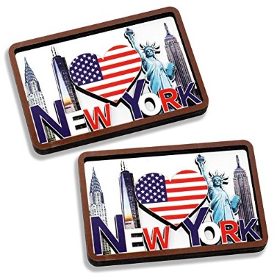 [ Set of 2] New York Skyline with USアメリカ国旗、自由の女神、Empire State、クライスラーBuilding & One World Trade...