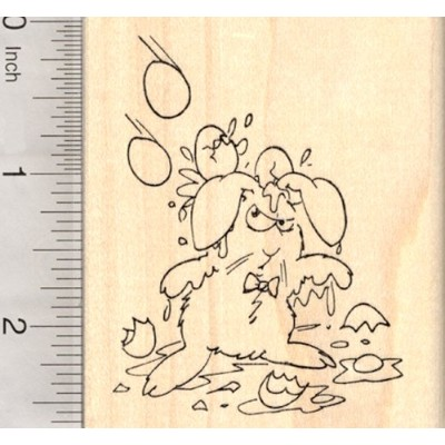 Easter Bunny Rubber Stamp, Grumpy Rabbit being Egged
