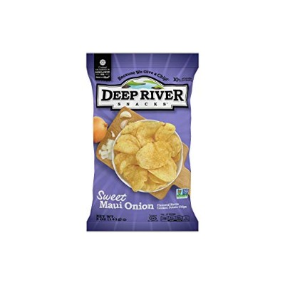 Deep River Snacks Kettle Chips, Sweet Maui Onion, 5-Ounce Bags (Pack of 12) by Deep River Snacks