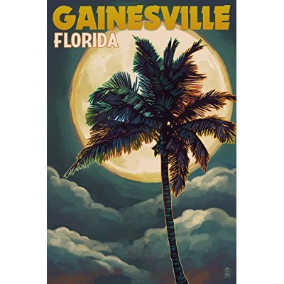 Gainesville、フロリダ州–手のひらと月 24 x 36 Signed Art Print LANT-54202-710