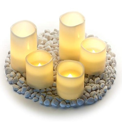 """Hayley Cherie–Real Wax Flameless Candles withタイマー(Set of 5)–LEDちらつきキャンドル5」、3"""" Tall–Amber..."""