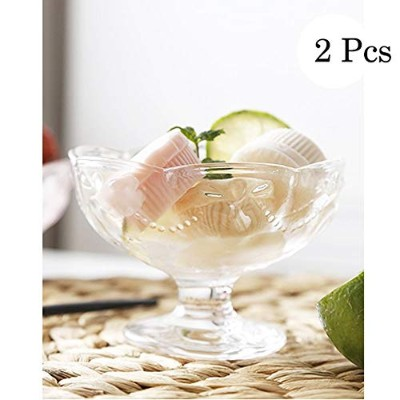 Mini Dessert、Appetizerボウル、クリアガラス、2Piece Set EssentialsホームFooted Glass Ice Cream Dessert Dishes Cup