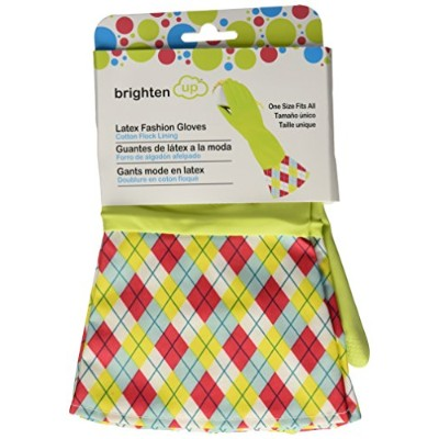 Brighten Up Reusable Latex Cleaning Gloves For Bathroom, Drain, and House Cleaning, Colors Vary, 3-Pack by Brighten Up