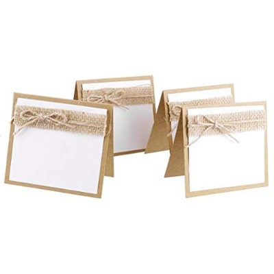 UEETEK 10pcs Burlap Guest Wedding Party Table Place Cards Wedding Collection set For Shabby Chic...