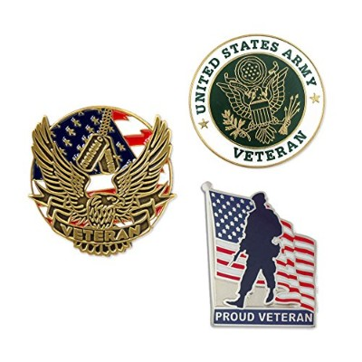 Pinmart USA Army Veteran Military Patrioticエナメルラペルピンセット