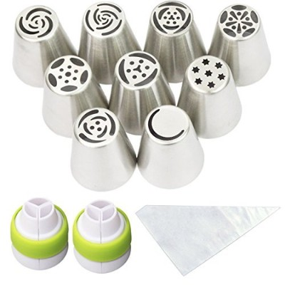 Cofe-BY Russian Icing Piping Nozzles Cake Flower Decoration Tips 21-Pcs Set for Home Baking (9...