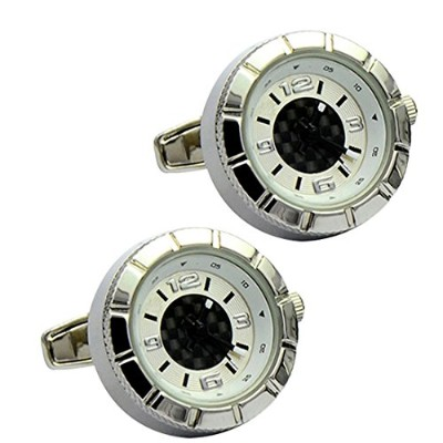 qy-our Real Working Watch Cufflinks For Men Withプレゼンテーションbox-classicブラックandホワイトWatch Movement ホワイト