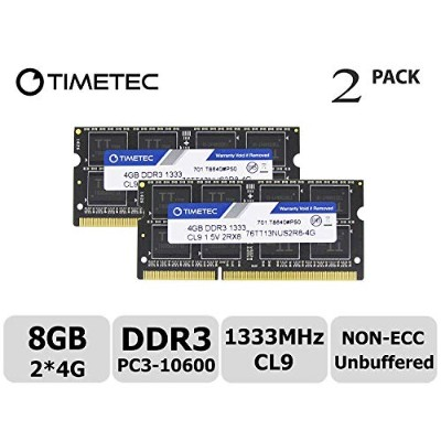 Timetec Hynix IC 8GB キット (2x4GB) ノートPC用メモリ DDR3 1333 MHz PC3 10600 1.5 v 204 Pin SODIMM 永久保証 (8 GB...