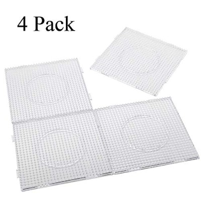 (4PCS) - H & W 4PCS 5mm Fuse Beads Boards, Large Clear Pegboards Kits, With Gift 4 Lroning Paper ...