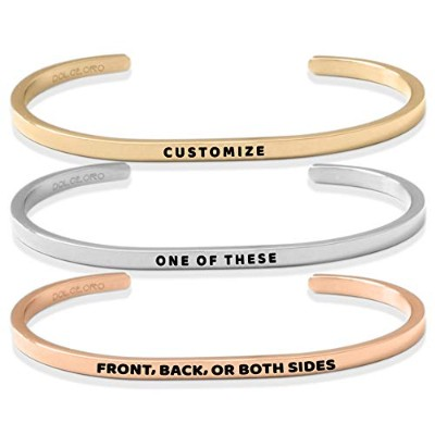 Personalize Your Mantraフレーズ–Inspirational Cuff Band by dolceoro–316lサージカルステンレススチール