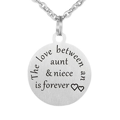 Kisseason The Love Between a Aunt and Niece is Forever ドッグタグキーチェーンジュエリーペンダントネックレス ブラック