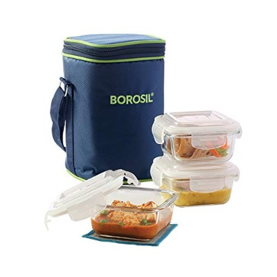 (320ml) - Borosil Klip N Store Microwavable Containers 320ml Set Of 3 With Lunch Bag