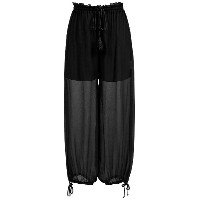 Nk silk cropped trousers - ブラック