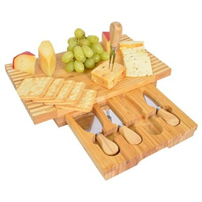 (Brown) - Vina Bamboo Cheese Board Set - Cheese Cutting Board Server with 4 Piece Slicer Knife,...