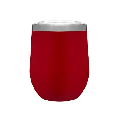 (Mattte Red) - Hot or Cold - 350ml Double Wall Stainless Steel Copper Vacuum Insulated Stemless...