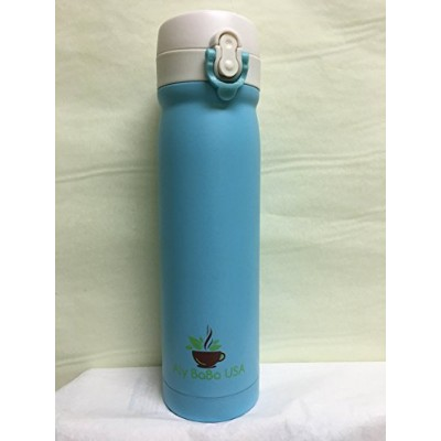 (Blue) - Aly BaBa USA Stainless Steel Insulated Travel Coffee Mug, 470ml (blue)