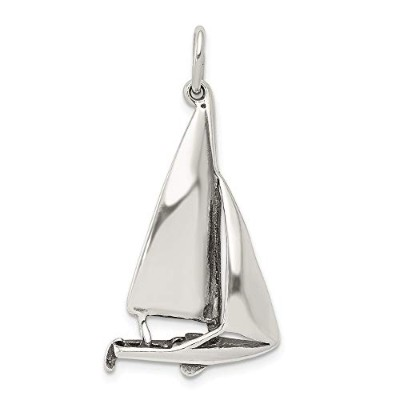 Beautiful Sterling silver 925 sterling Sterling Silver Antiqued Sailboat Charm comes with a Free...