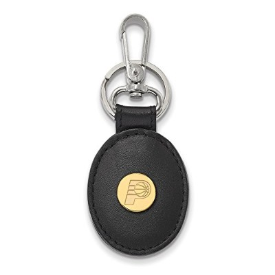 Beautiful Sterling Silver w/GP NBA LogoArt Indiana Pacers Black Leather Oval Key Chai comes with a...