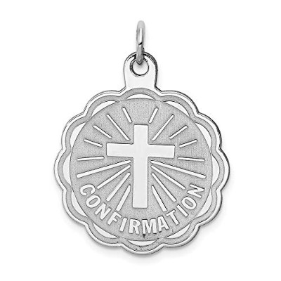 Beautiful Sterling silver 925 sterling Sterling Silver Rhodium-plated Confirmation Disc Charm comes...
