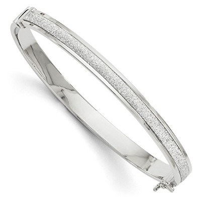 Beautiful White gold 14K Leslie's 14k White Gold Fancy Glimmer Infused Hinged Bangle comes with a...