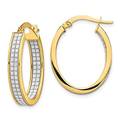 Beautiful Yellow gold 14K Yellow-gold Leslie's 14K In and Out Glimmer Infused Oval Hoop Earrings...