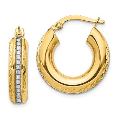 Beautiful Yellow gold 14K Yellow-gold Leslie's 14K Glimmer Infused Hoop Earrings comes with a Free...