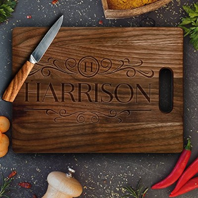 Personalizedカッティングボード、カスタマイズされた新築祝いギフトCarving Board、カスタム結婚式の贈り物Chopping Board、Made in USA ブラウン...