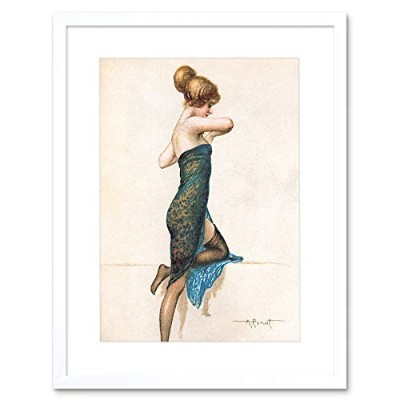 Painting Postcard Lady Dress Woman Drawing Penot Framed Wall Art Print ペインティングはがきドレス女性図壁