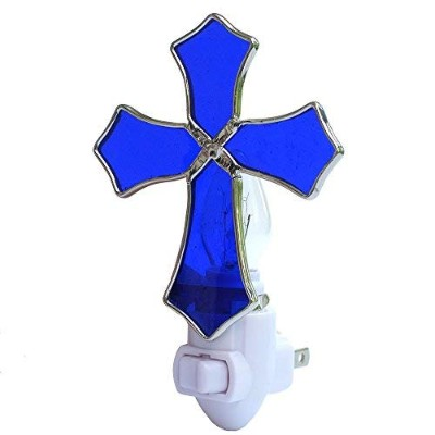Plug In Night Light,CoowindステンドグラスReligion Cross Night Light for Kids、ホーム装飾、洗礼ギフト COOWIND- Light 1