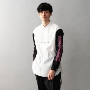 SALE【ギルドプライム(GUILD PRIME)】 FINEBOYS掲載【Education from Youngmachines】MENS スリーブロゴコンビシャツ ホワイト