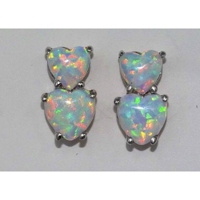 Simulated Opal Double Heart Stud Earrings .925 Sterling Silver Rhodium Finish