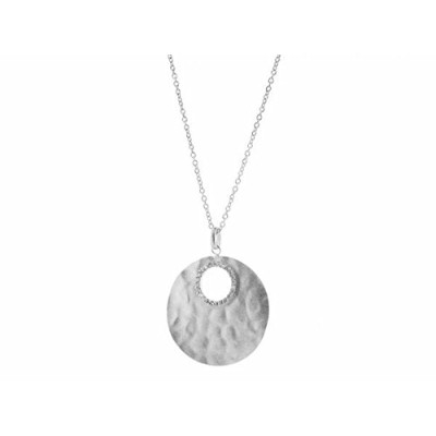 """fronay Co。925スターリングシルバーHammered Full Lunar CZ Moon Necklace , 17 """" + 2 """""""