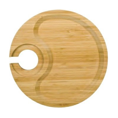 Round Party Plate with Built-in Stemware Holder Made From Bamboo by Franmara