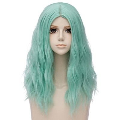 (Green) - TOP-MAX Green Medium 50cm Curly Heat Resistant Cosplay Wig Fashion Lolita Women's Party